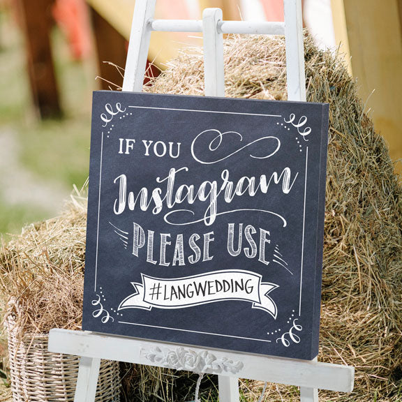 Instagram #Hashtag Canvas Wedding Sign