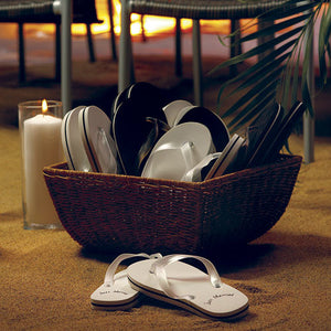 A basket of the  Beach Wedding Just Married Flip Flop Wedding Favors.