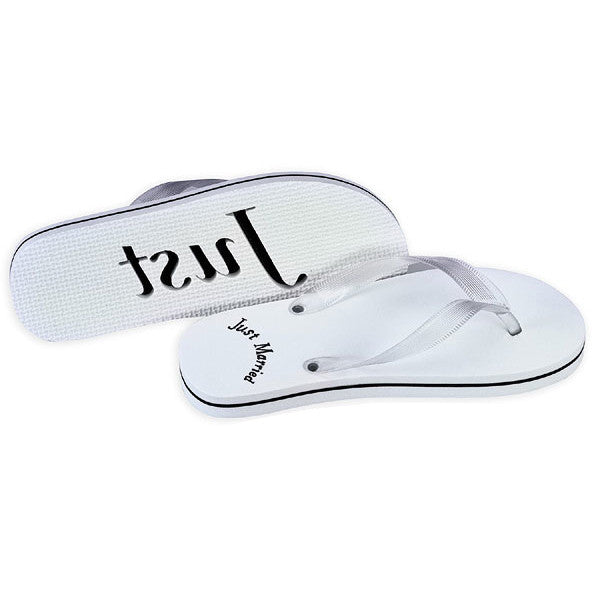 White Just Married Wedding Flip Flop  Candy Cake Weddings -8845
