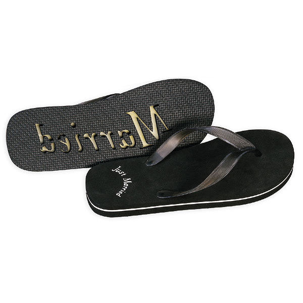 Black -  Beach Wedding Just Married Flip Flop Wedding Favors (Him)