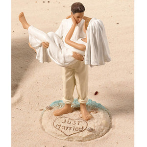 Just Married Beach Sand Wedding Cake Top Couple Figurine