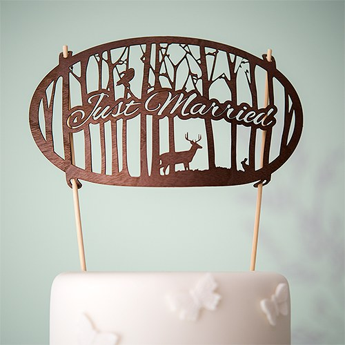 Just Married Deer and Woodland Wood Veneer Wedding Cake Topper