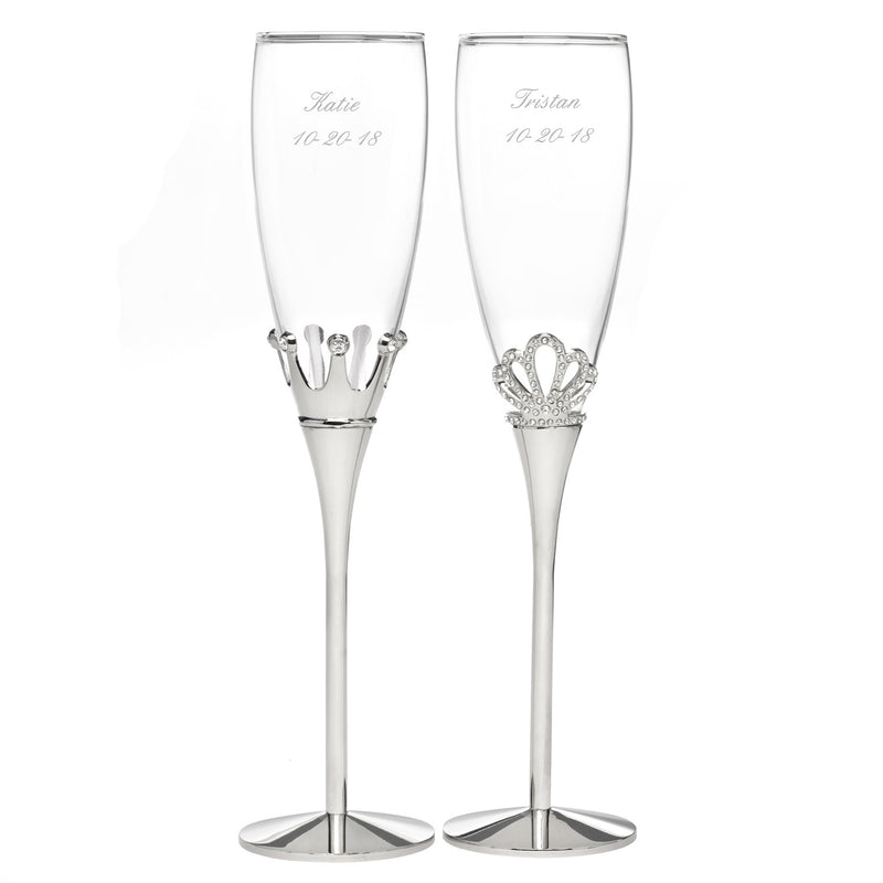 King and Queen Rhinestone Flute Glass Set