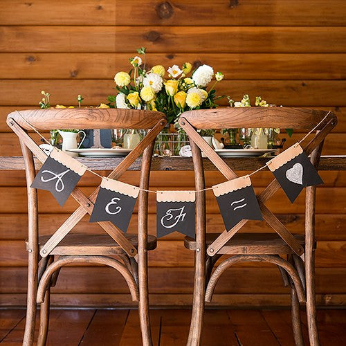Kraft and Chalkboard Black Paper DIY Wedding Party Banner Kit