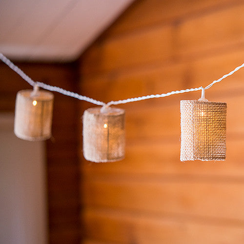 Led string party lights with burlap shades candy cake for Burlap lights