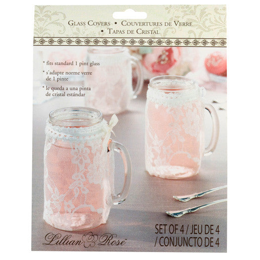 Lace Glass Cover Wedding Party Table Decor (Set of 4)