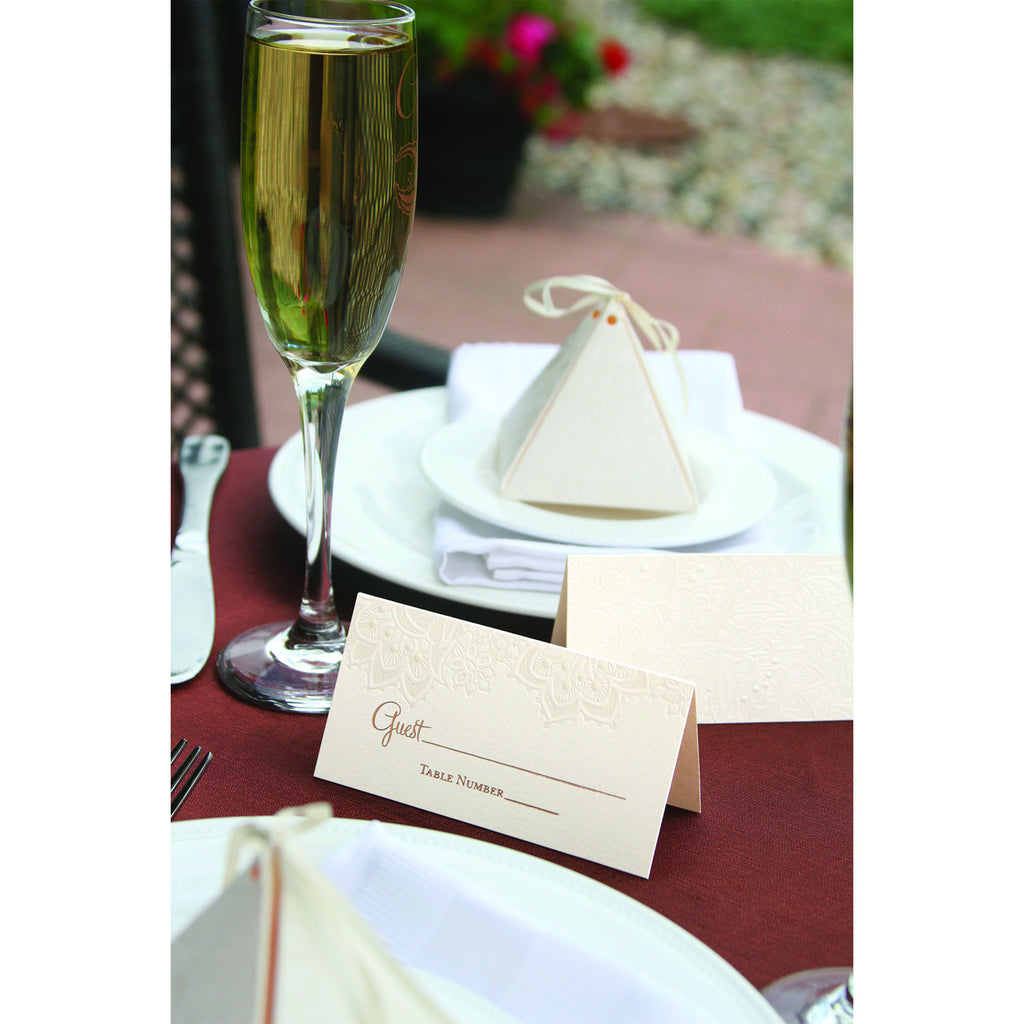 Pyramid Floral Lace Favor Box Table Setting Idea