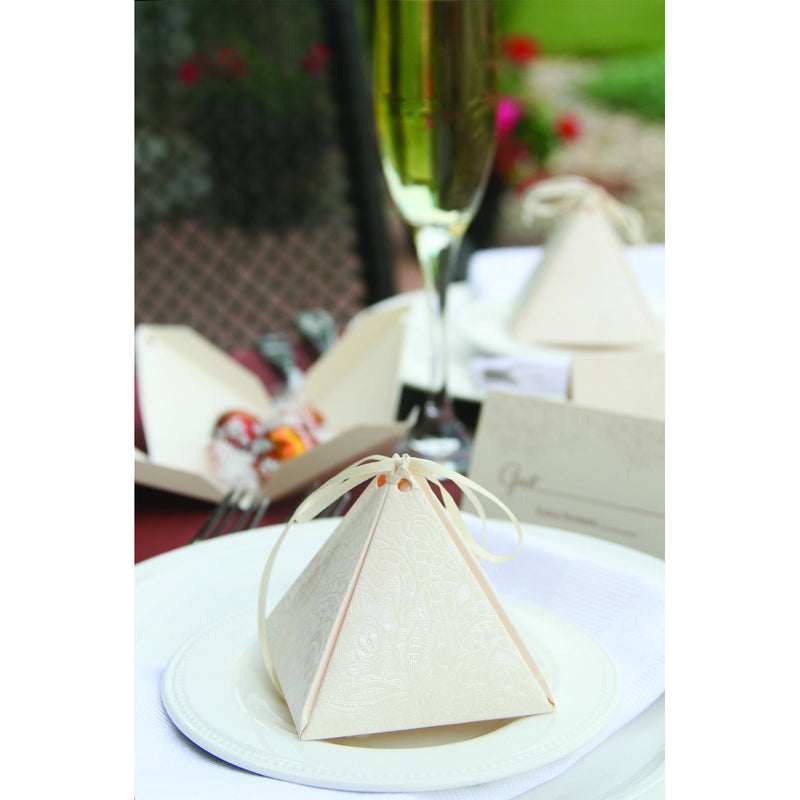 Pyramid Floral Lace Favor Box Table Setting