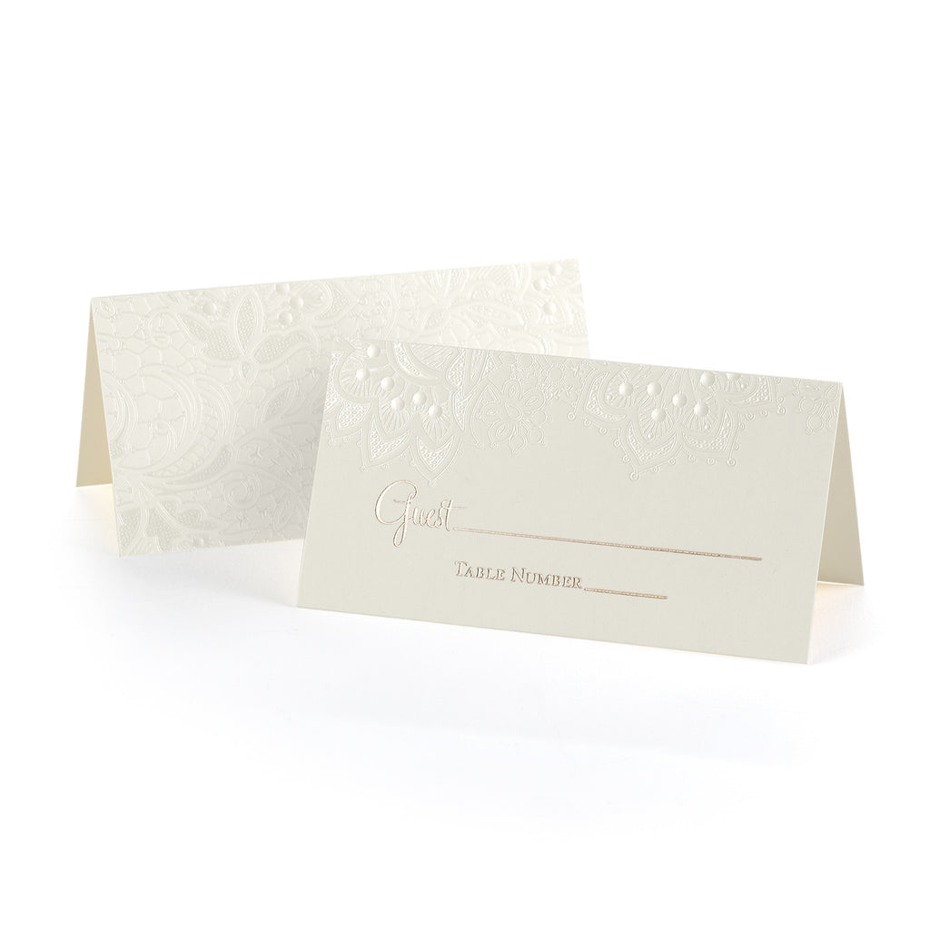Ecru Vellum Wedding Table Place Card with Floral Lace Design