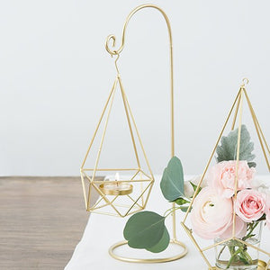 15-Inch Gold Geometric Hanging Tealight Holder