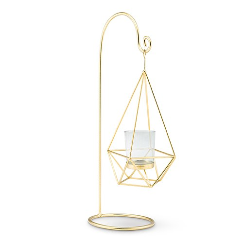 15-Inch Gold Geometric Hanging Tealight Holder (Pack of 2)