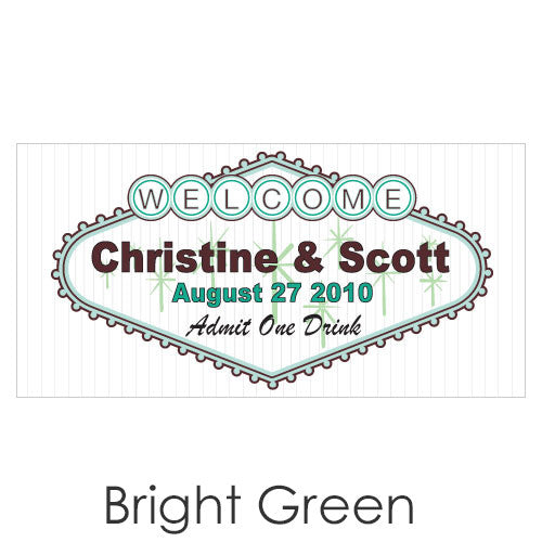 Personalized Las Vegas Wedding Drink Ticket - Bright Green