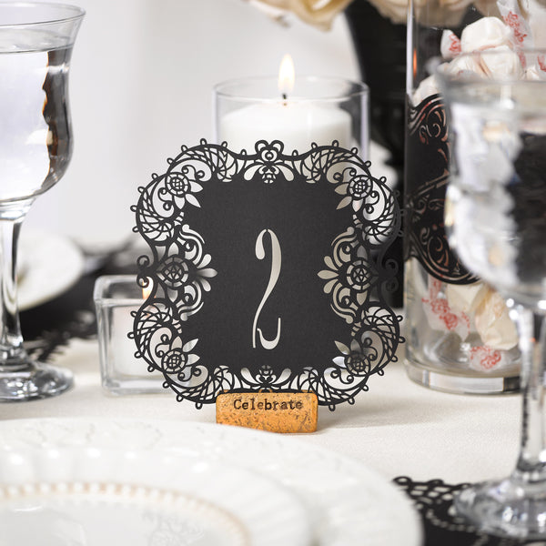 Laser Cut Wedding Party Table Number Cards Candy Cake