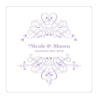 Lavender Fanciful Monogram Personalized Clear Acrylic Block Cake Topper