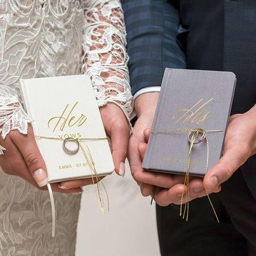 His Hers Linen Wedding Ceremony Vows Journal Book