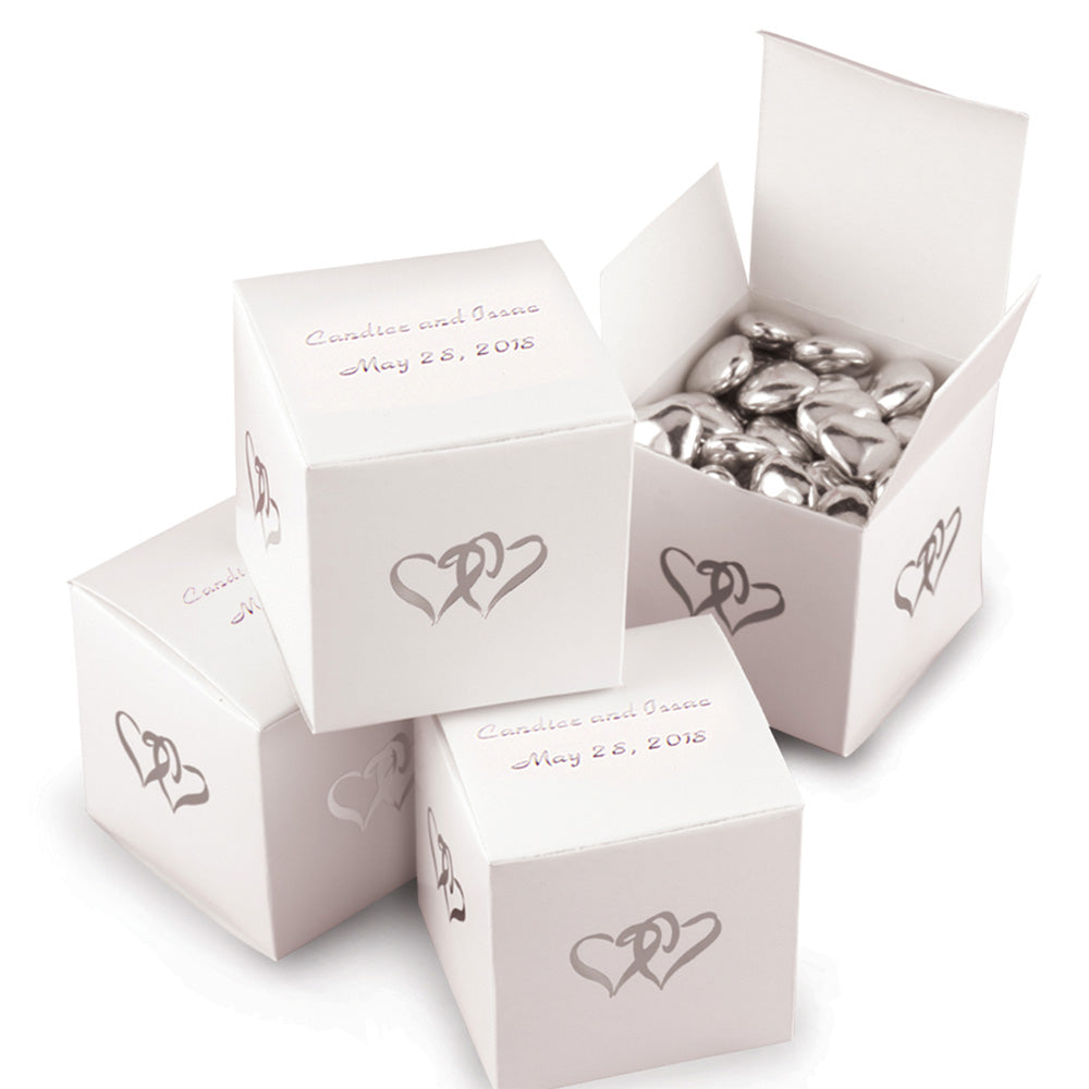 Personalized Linked Hearts White Favor Box