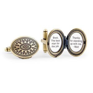 Vintage Locket Style Cufflinks Gold or Silver