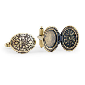 Vintage Locket Style Cufflinks Gold