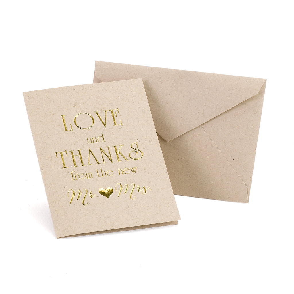 Love & Thanks Rustic Mr and Mrs Gold Thank You Cards