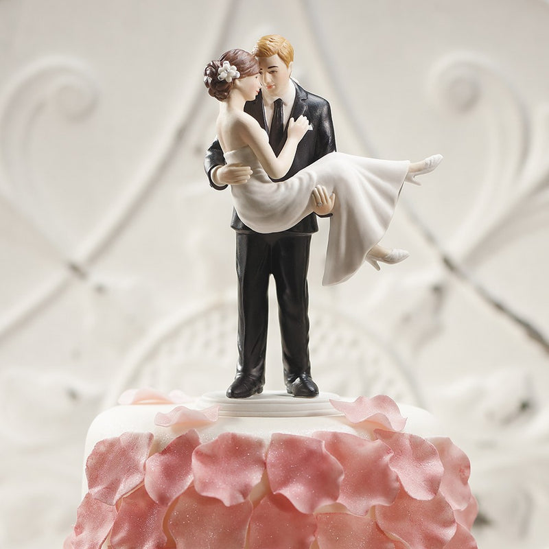 Loving Arms Embrace Bride and Groom Wedding Cake Top