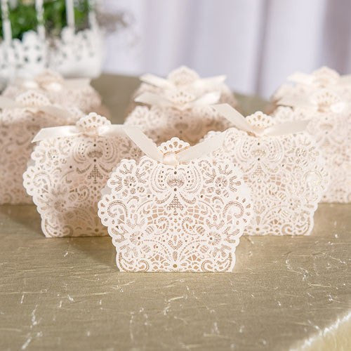 Foil and Lace Wedding Party Favor Box