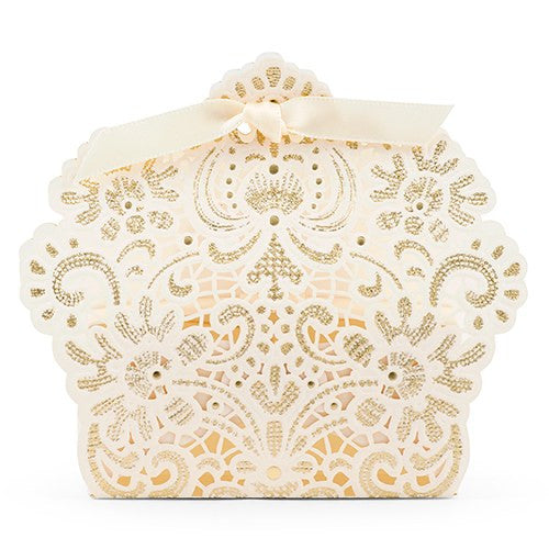 Foil and Lace Wedding Party Favor Box (Pack of 10)