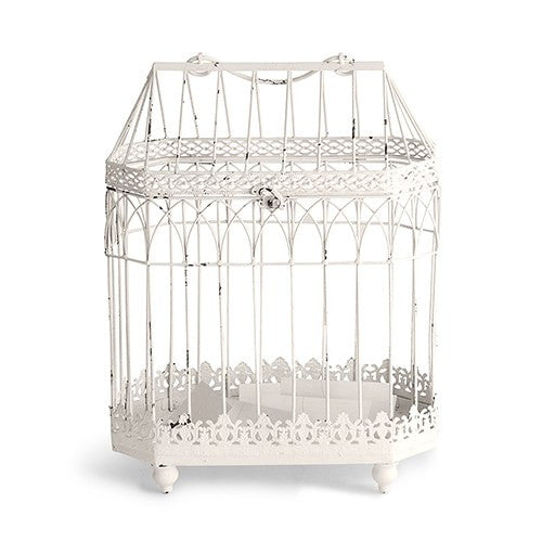 White Wash Metal Decorative Bird Cage in Conservatory Design