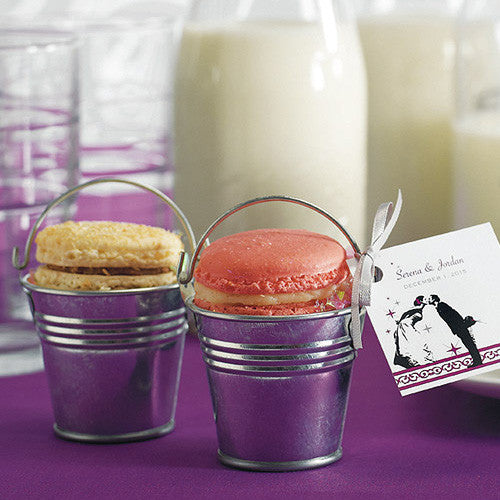 Mini Metal Wedding Favor Pail used to hold macaroons.