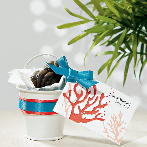 Mini Metal Wedding Favor Pail filled with chocolate.