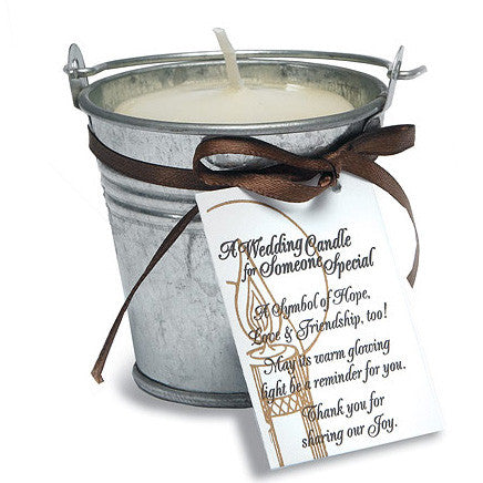 Mini Metal Wedding Favor Pail used as a candle.