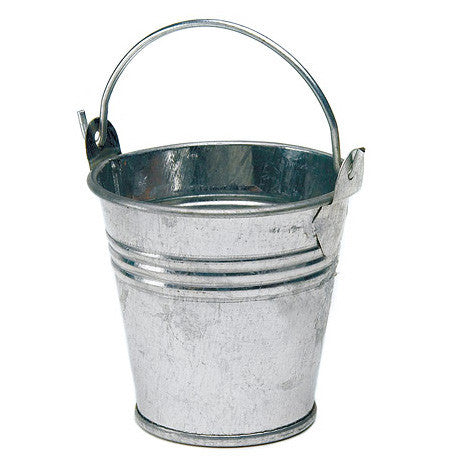 Mini Metal Wedding Favor Pail in silver.