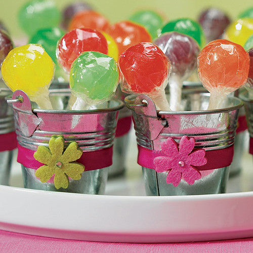 Mini Metal Wedding Favor Pail filled with colorful lollipops.