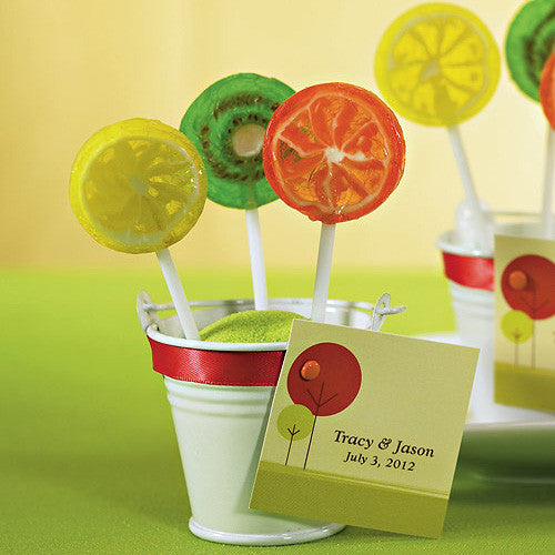 Mini Metal Wedding Favor Pail filled with lollipops.