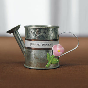 Miniature Metal Garden Watering Can Wedding Favors - Decorations and contents not included.