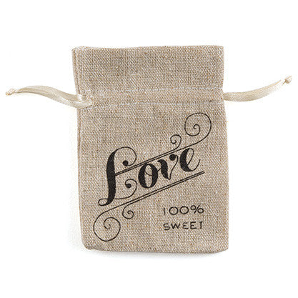 Mini Linen Drawstring Pouch with Love Print (