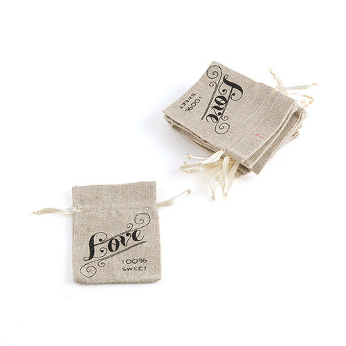 Mini Linen Drawstring Pouch with Love Print (Pack of 12)