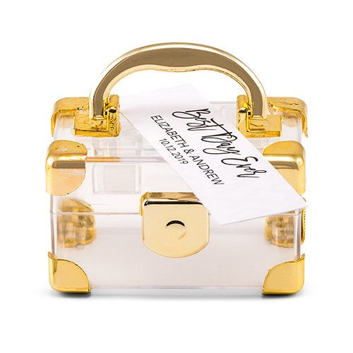 Gold Mini Travel Destination Wedding Favor Box