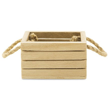 Mini Wooden Crate Party Favor Box with Jute Handles (Pack of 4)