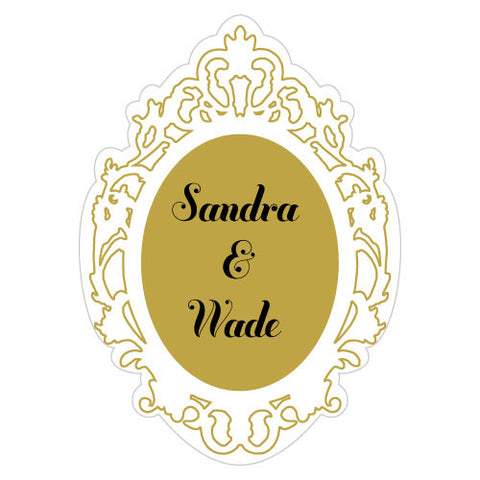 Personalized Gold Mirror Frame Die Cut Metallic Sticker