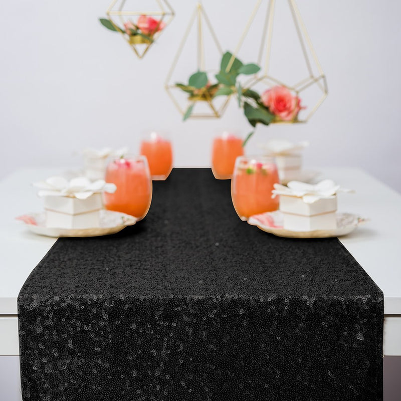 Black Sparkle Sequin Table Runner for Weddings and Parties