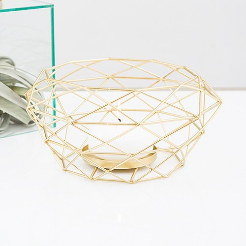 Gold Candle Holder Geometric Modern Metal Table Centerpiece