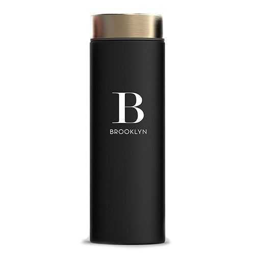 Modern Serif Initial Stainless Steel Personalized Water Bottle with Gold Lid