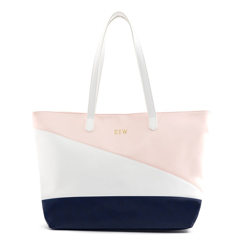 Monogrammed Pink White & Blue Faux Vegan Leather Tote Bag