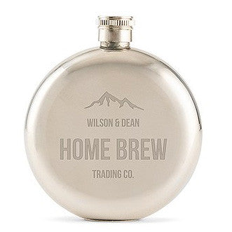 Personalized Mountain Engraved Round Silver Hip Flask