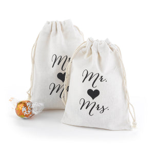 Mr and Mrs Cotton Favor Bags