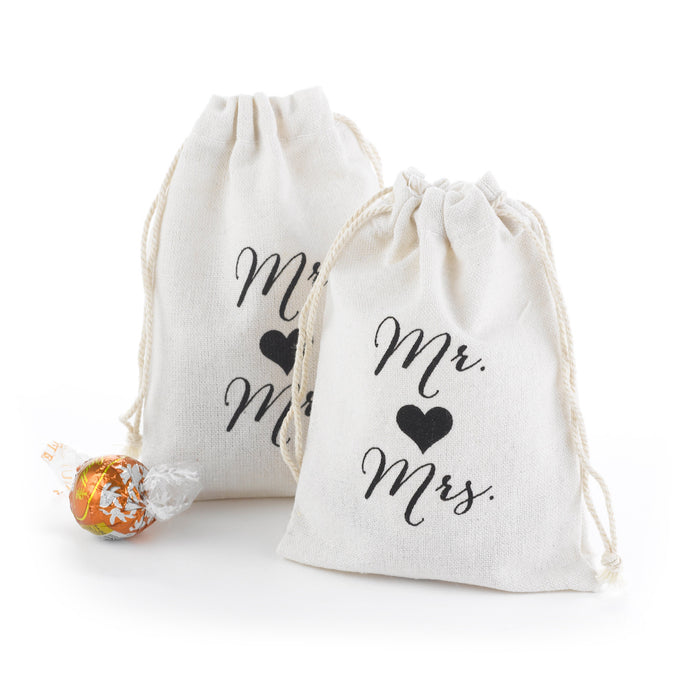 Mr and Mrs Cotton Favor Bags (Pack of 25)