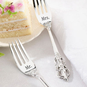 Mr and Mrs Silver Fork Wedding Cake Set