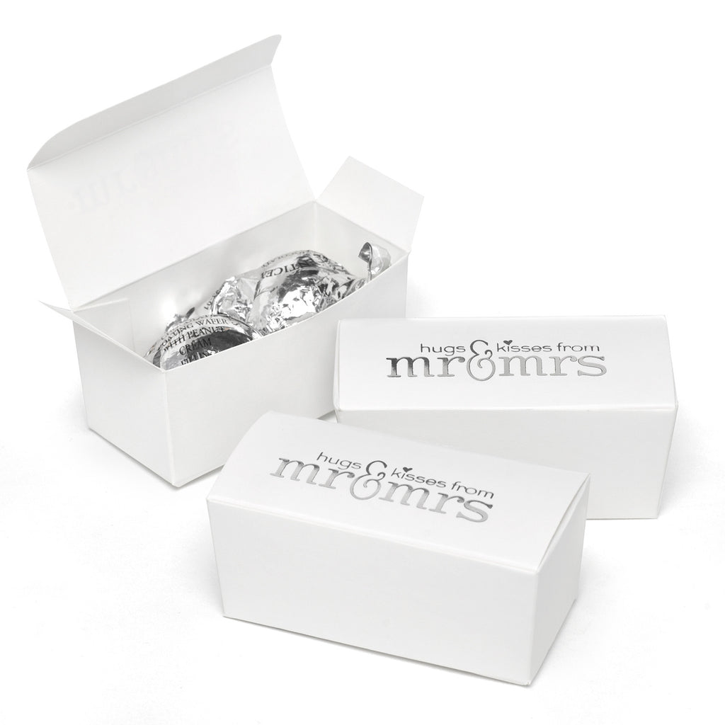 Mr and Mrs White and Silver Foil Wedding Party Favor Boxes
