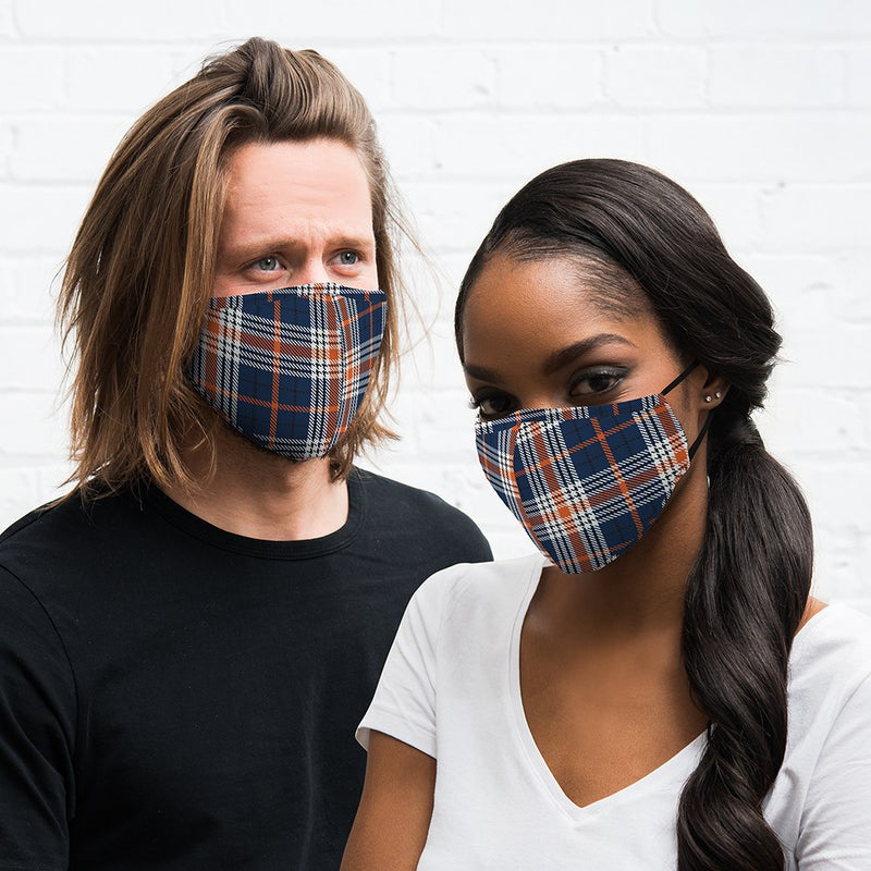 Navy and Orange Plaid Adult Protective Cloth Face Mask