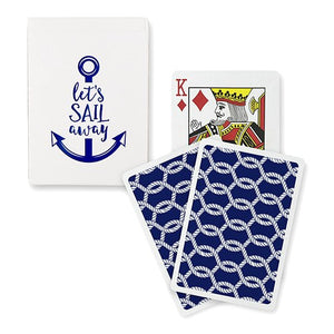 Foil Print Nautical Anchor Let's Sail Away Playing Cards